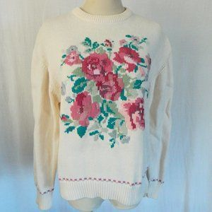 Vintage 90's Eddie Bauer Floral Cotton Sweater M
